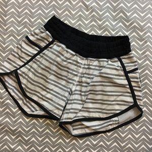 Lululemon Grey Striped Black Edge/waistband Shorts